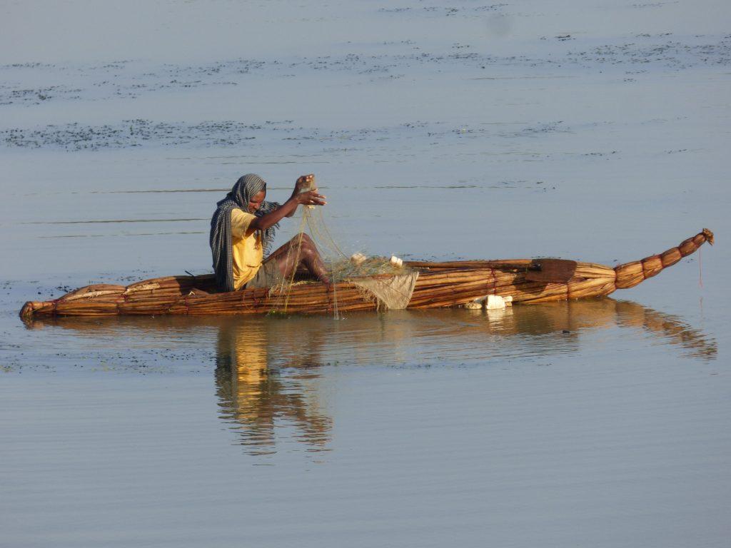 Pêcheur du Lac Tana, sur son bateau en papyrus