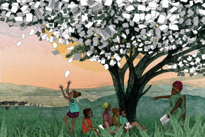 Illustration - école sous un arbre
